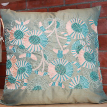 Cushions Dupion Silk Hand thread work FrenchKnots botanicals 18 Blue