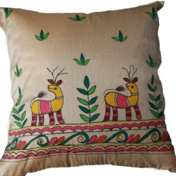 Cushion Cover Khadi Silk Madhubani Hand Painted Deer Motif 16 Golden