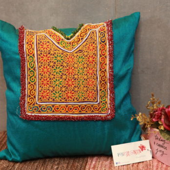 Cushions Poly Khadi Afghani patchwork Medium Patch 16 Blue