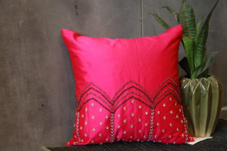 Magenta Zardozi Cushion