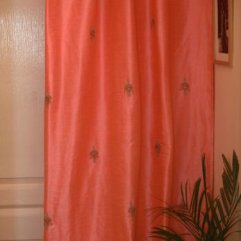 Curtains Art Khadi Silk Gotta patti Motif across 9 Peach
