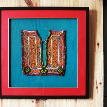 Wall Art Khadi Silk Afghani Patchwork Medium Patch 22 Yellow