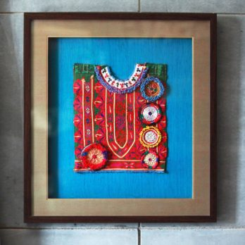 Wall Art Khadi Silk Afghani Patchwork Big Patch 22 Red