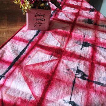Table Runner Cotton Shibori Dye Rhombus  48 Red