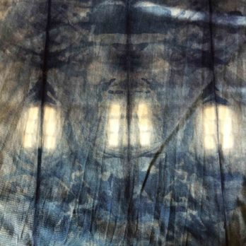 Table Runner Glace Cotton Shibori Dye Geometry 72 Indigo