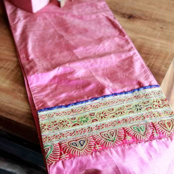 Table Runner Khadi Silk Afghani Patchwork Horizontal panels 72 Pink1