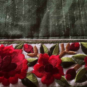 Table Runner Khadi Silk AppliqueThread Work Border All sides 72 Green