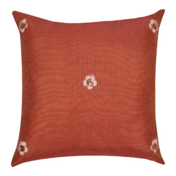 Cushions Chanderi Hand Thread Work Small Flowers 16 Orange