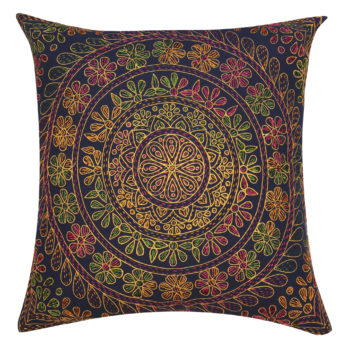 Cushions Cotton Kantha Allover Floral 16 Navy