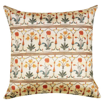 Cushions Dupion Silk Printed Mughal Floral 16 Orange