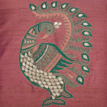 Cushions Khadi Silk Gotta patti Peacock 16 Multi