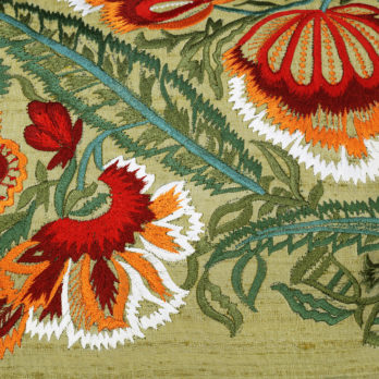 Cushions Khadi Silk Embroidery  Floral 16 Khaki Green