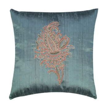 Cushion Cover Khadi Silk Embroidered Paisley Kalamkari Motif 16 Blue Grey