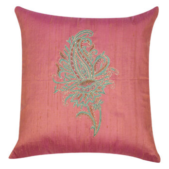 Cushion Cover Khadi Silk Embroidered Paisley Kalamkari Motif 16 Pink