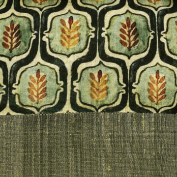 Cushions Khadi Silk Print Plain Horizontal panels 16 Khaki Green