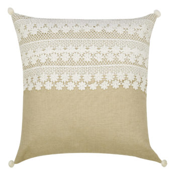 Cushions Linen Applique LaceLayers 16 Beige