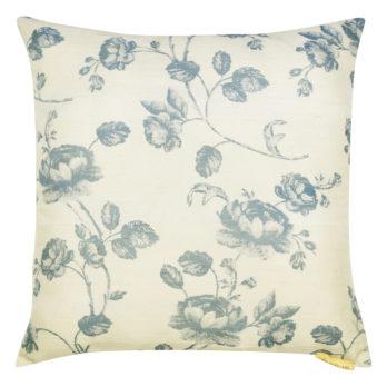 Cushions Poly Khadi Printed Blue Roses 16 White