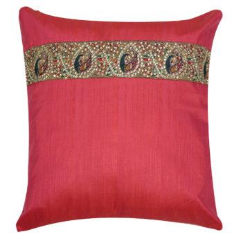 Cushions Poly Khadi Zardozi Lace Horizontal panels 16 Magenta