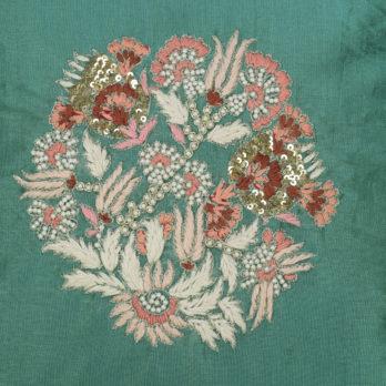 Cushions Poly Silk Hand Thread Work Mughal Floral 16 Blue