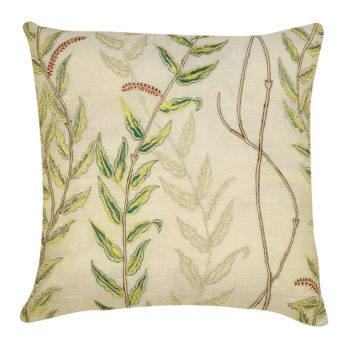 Cushions Shimmer Chanderi Embroidery  Climbers and birds 16 Golden