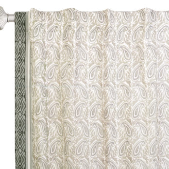 Curtains Chanderi Jaipuri Block Print Paisely Leaf 8 Grey