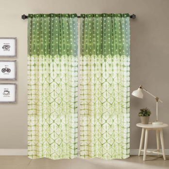 Curtains Chanderi Shibori Dye Geometry 9 Green