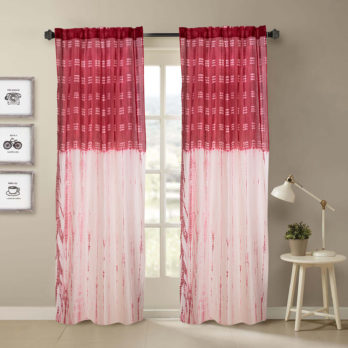 Curtains Chanderi Shibori Dye Fish scale 9 Red White