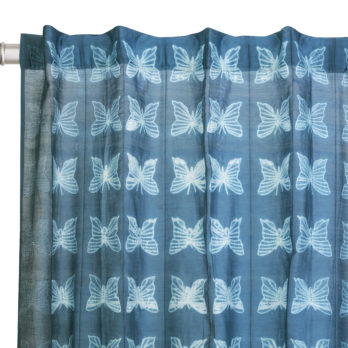 Curtains Chanderi Shibori Dye Butterfly 9 Indigo