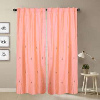 Curtains Khadi Silk Gotta patti Motif across 9 Peach