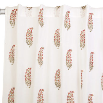 Curtains Malmal Jaipuri Block Print Paisely Leaf 9 Maroon