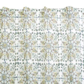 Curtains Malmal Jaipuri Block Print Mughal Mandala 9 White