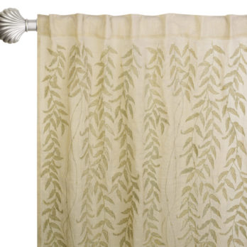 Curtains Shimmer Chanderi Embroidery  Climbers and birds 8 Golden