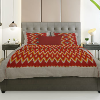 Bed Sheet Cotton Ikat Chevron 108 Red