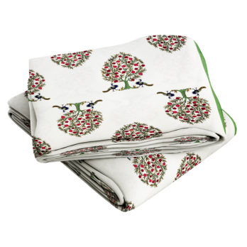 Bed Sheet Cotton Jaipuri Block Print Mughal Floral 108 White