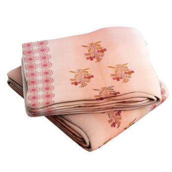 Bed Sheet Cotton Jaipuri Block Print Panel and Motifs 108 Peach
