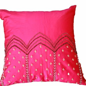 Rangsaga Cushion Cover Tafta Silk Zardosi Horizontal panels 16 Magenta