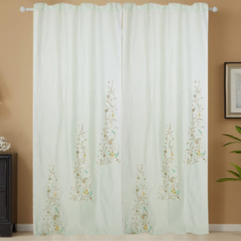Curtains Chanderi Gotta patti Three Panel 9 Light Green