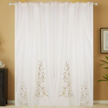 Curtains Chanderi Gotta patti Three Panel 9 Offwhite