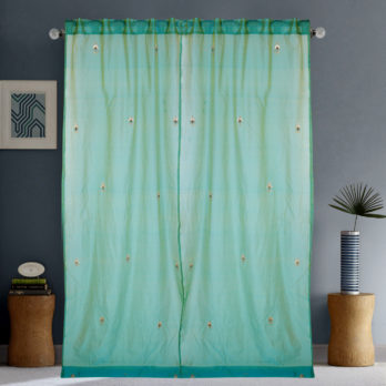 Curtains Chanderi Gotta patti 15 Motifs 9 Green