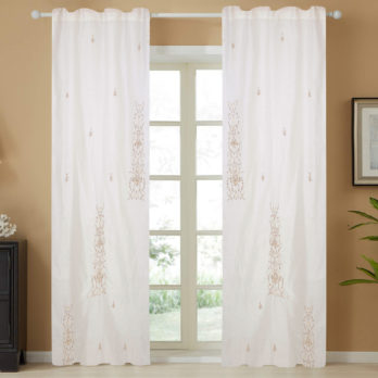 Curtains Linen Chanderi Zardosi Three Panel 9 Offwhite