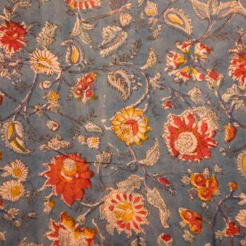 Curtains Malmal Jaipuri Block Print Mughal Floral 9 Blue