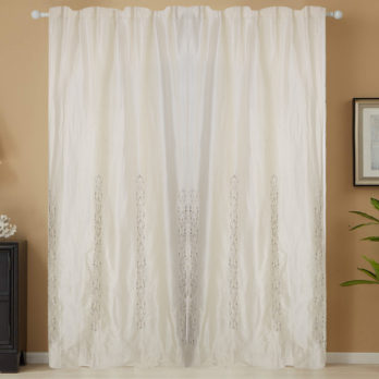 Curtains Mulberry Silk Pearl Zardozi Four Panel 8 Offwhite