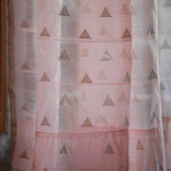 Curtains Chanderi Hand woven Zari Waterfall 9 Peach