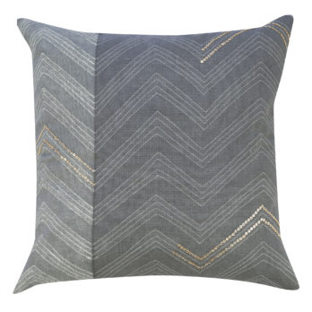 Cushions Cotton Shibori Dye Chevron Sequins 16 Grey