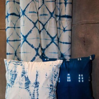 Curtains Chanderi Shibori Dye Geometry 9 Indigo