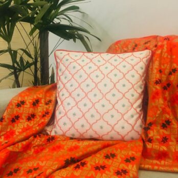 Cushion Cover Cotton Bead Work Jaali 16 Offwhite Orange