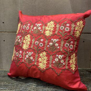 Cushions Dupion Silk Hand Thread Work Mughal Jaali 16 Magenta