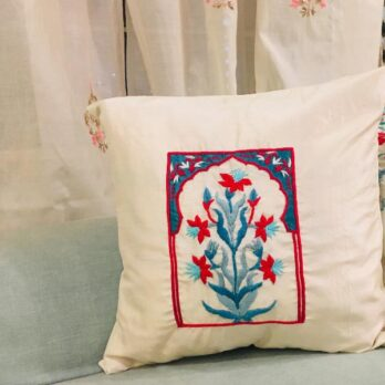 Cushion Cover Dupion Silk Zardosi Mughal Window 16 Offwhite Blue