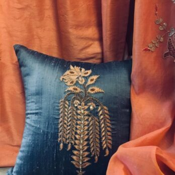 Cushions Khadi Silk Hand Thread Work Dropping Leaves 16 Bluish Grey