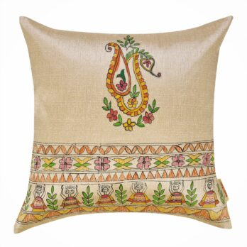 Cushions Khadi Silk Madhubani Painting Motif across 16 Golden